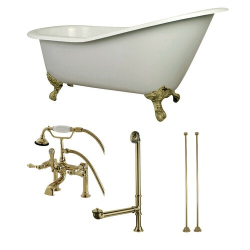 Kingston Brass KCT7D653129C2 62-Inch Cast Iron Single Slipper Clawfoot Tub Combo with Faucet and Supply Lines, White/Polished Brass
